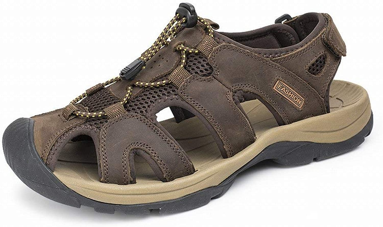 Fuxitoggo Herrenmode Casual Sandalen Sohle Leder Beach Schuhe Large Größe Herrenschuhe (Farbe   Dunkelbraun, Gre   43)