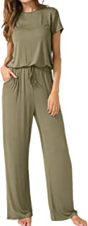 Women's Short Sleeve Loose Wide Legs Casual Jumpsuits with Pockets