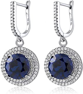 Gem Stone King Sterling Silver Round Blue Simulated Sapphire Women's Dangle Earrings (9.48 Cttw, 10MM Round)