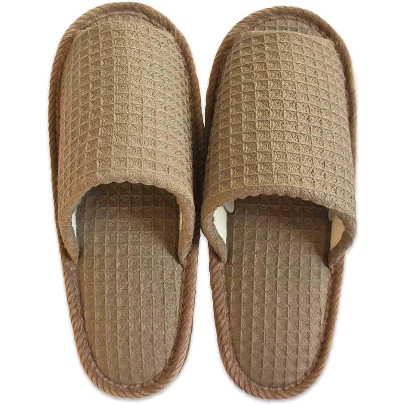 エキゾチック認識乱すスリッパ メンズ 太ワッフル外縫い Lサイズ 約27cmまで 日本製 洗える ゆったり ブラウン