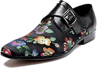Rui Landed Oxford for Men Formal Shoes Slip On Style Genuine Leather Embroidery Delicacy Monk Strap Stitching