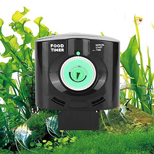 Changor Alimentador automático de Pescado, alimentador de Peces automático Adecuado 280 ml de plástico para una Variedad de tamaño de alimentación (Negro)