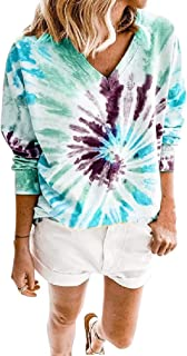 HEFASDM Womens Tie Dyed V Neck Long Sleeves Loose T-Shirt Pullover Tunic Tops