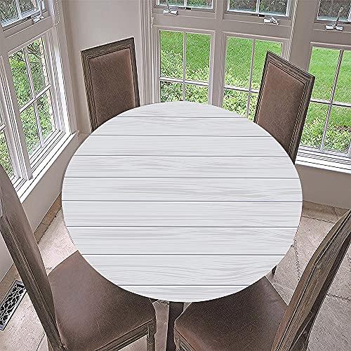 Impermeable Redondo Mantel con Borde Elástico, Fansu 3D Grano de madera Impresión Mantel de Mesa Elástica Ajustada Cubierta de Mesa para Picnic Comedor Cocina Restaurante Cena (Shiraki,Diámetro 160cm)