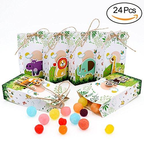 AerWo 24 Cajas de Recuerdos para Baby Shower con Cuerdas para decoración de cumpleaños Infantil y Safari