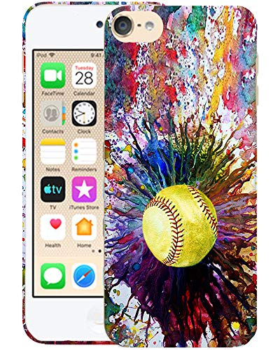 Glisten iPod Touch 7th / 6th / 5th Generation Case - Vintage Color Softball Design Printed Cute Slim Fit Hard Plastic Designer Back Case for iPod Touch 7th, iPod Touch 6th & iPod 5th Generation
