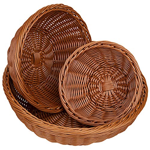 Yarlung 3 Pack Poly-Wicker Woven Breads Baskets, Stackable Round Fruit Baskets Food Serving Holders for Vegetables, Home, Kitchen, Restaurant, Outdoor, Imitation Rattan Brown, 3 Sizes
