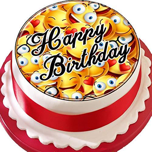 """Vorgeschnittener Kuchenaufleger """"Happy Birthday"""" mit Emoji-Motiv, essbare Kuchendekoration aus Zuckerguss, Smileygesichter"""