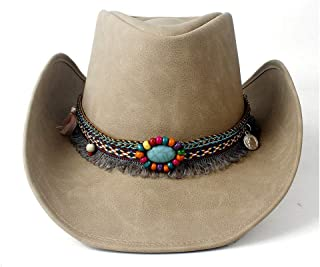 SHENTIANWEI Natural Leather Women Cowboy Hat Jazz Hats for Lady Tassel Western Sombrero Hats
