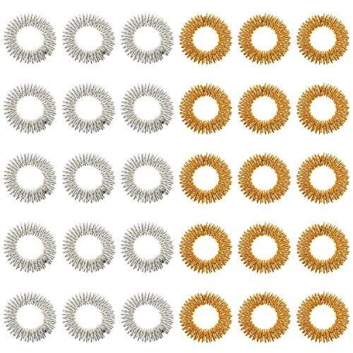 Akupressurringe,Premium Akupressurring, 30 Stück Fingermassage-Ringen, Wellness-Massage zur Entspannung, Fingermassage oder Zehenmassage, Ring für die Durchblutung der Finger(Gold, Silber)