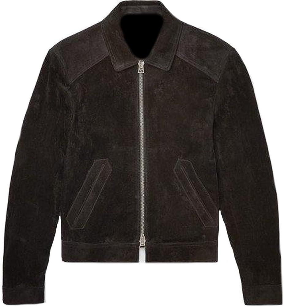 Classyak Men's Fashion Dark Brown Suede Leather Jacket