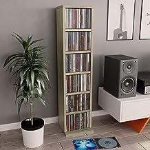 Festnight Meuble CD Etagères de Rangement pour CD et DVD Meuble de Rangement Chêne Sonoma 21 x 16 x 88 cm Aggloméré
