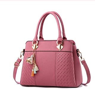Women Handbags Tassel PU Leather Top-handle Embroidery Crossbody Shoulder Bag Lady Simple Style Hand Bags,Pink,S
