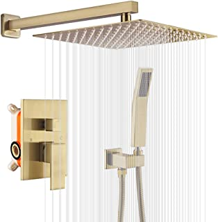 KOJOX Shower System Bathroom Luxury Rain Shower Head with Handheld Mixer Shower Combo Set Wall Mounted Shower Faucet Trim with Valve Brush Gold