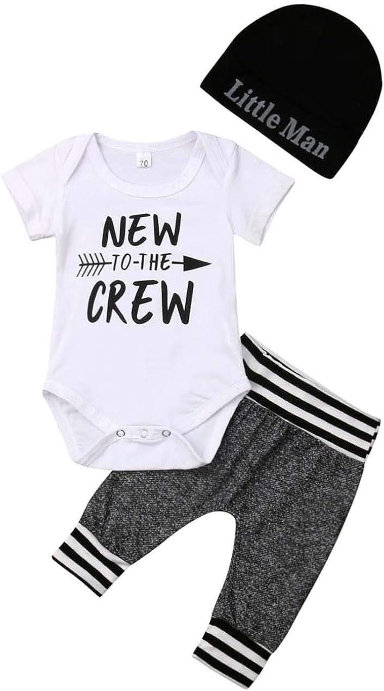 Newborn Baby Boy Clothes New to The Crew Letter Print Romper Bodysuit+Long Pants+Hat 3PCS Outfits Set