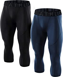 ATHLIO Men's (Pack of 1 or 2) Compression 3/4 Capri Pants Baselayer Cool Dry Sports Running Tights