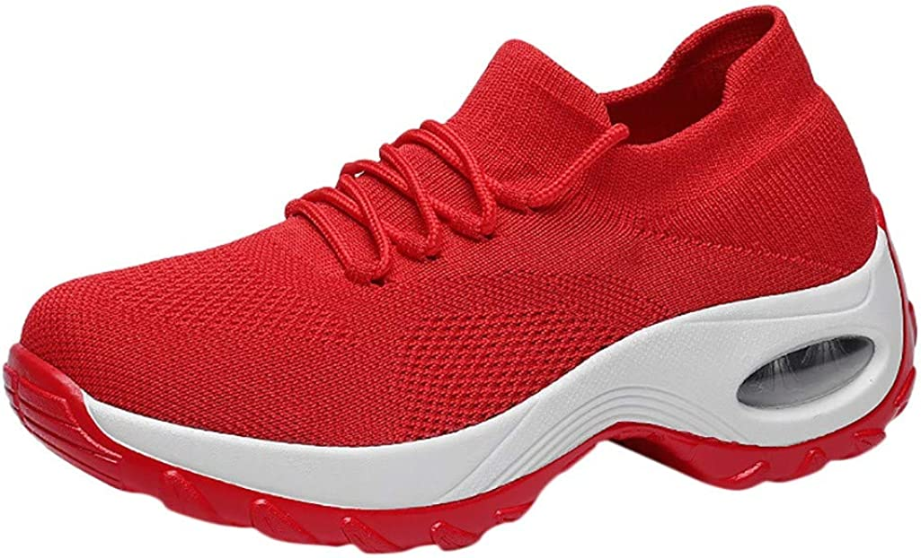 SOOTOP Women's Athletic Running Sneakers Casual Lightweight Breathable Fashion Air Fitness Sport Workout Gym Tennis Walking Shoes Comfort Fashion Slip On Flat Sneakers