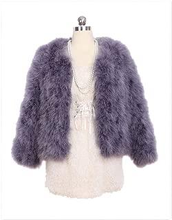 YR Lover Women's Winter Warm Real Ostrich Fur Coat Jacket