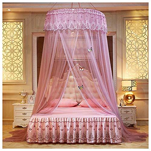 HAOAYOU Moskitonetz Runde Spitze Vorhang Dome Canopy Netting Moskitonetze Home Aufkleber Prinzessin Bett 120cm Dark Pink