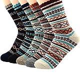 Mens Warm Wool Socks Soft Long Cozy Socks for Fall Winter Cashmere Athletic Crew Socks for Men B (5 Pair Diamond)