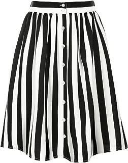 Women's Striped Button Front Elastic Back Waist A-Line Midi Skirt