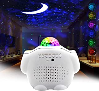 Star Night Light Projector Bedroom,3 in 1 Galaxy Projector Light LED Nebula Cloud Light with Moon Star & Voice Control As a Gift for Game Room Party Home Theatre Night Light Ambiance
