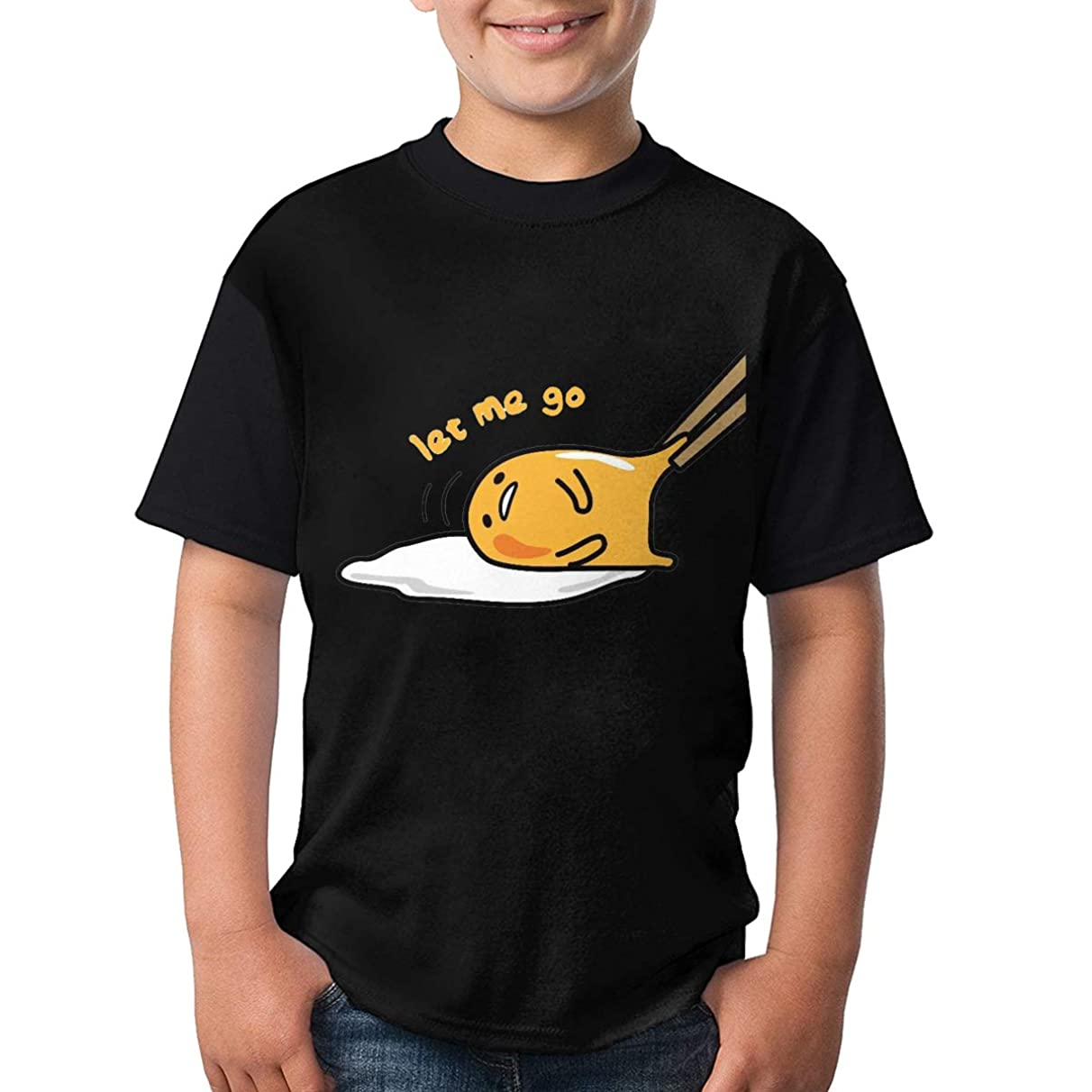 Youth Round Neck T-Shirts, Japan Gudetama Lazy Egg Short Sleeve T-Shirt Sport Casual Classic Jersey for Teens