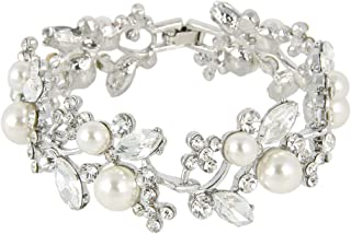 Austrian Crystal White Simulated Pearl Bridal Floral Leaf Tennis Bracelet Clear