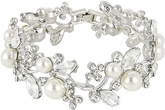 EVER FAITH Austrian Crystal White Simulated Pearl Bridal Floral Leaf Tennis Bracelet Clear