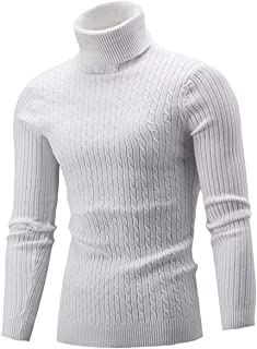 Generic Mens Slim Zip Up Mock Neck Sweater Casual Long Sleeve Pullover Sweaters