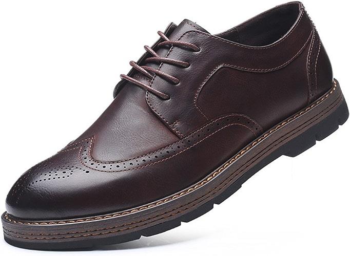 Fgmjgk Les Chaussures en Cuir, Anglais gravé des Chaussures D'hommes, Les Affaires de Chaussures,marron,Quarante - Trois