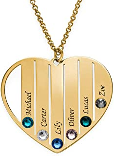 MyNameNecklace Necklace Personalized Mom Heart Necklace-Jewelry Made with Swarovski Crystals