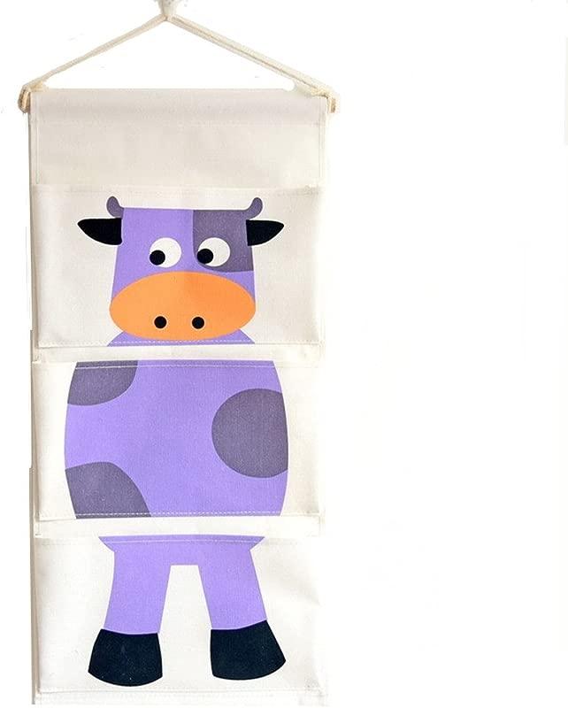 KAIGOTOQIGO Linen Cotton Fabric Wall Door Closet Hanging Storage Bags With Door Organizer Purple 24 12 Inch