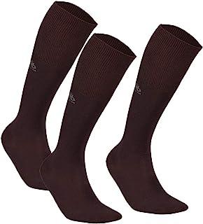 DeoMed, 3 pares de calcetines diabéticos de bambú hasta la rodilla, sin goma, delgados, para hombre diabético, para diabéticos Marrón – 3 pares 43-46
