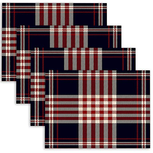 Douecish Linen Placemats,Washable,Heat-Resistant Tartan Plaid Pattern in Red Amp White Stripes Black Background Table Placemats for Kitchen,Dining Table,Dining Room,18X12,Set of 4