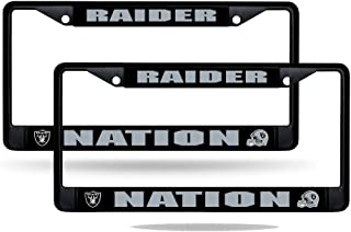 Oakland Raiders Nation NFL Black Metal (2) License Plate Frame Set