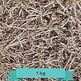 Papel Kraft para Relleno de cestas Papel de cartón desmenuzado de Corte Arrugado Color marrón Ideal para Envoltura y decoración de Regalos (1 Kilo) Papel triturado.