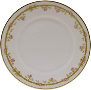 Theodore Haviland Limoges France Pink Roses Green Link Gold Bread Plate 6 3/8