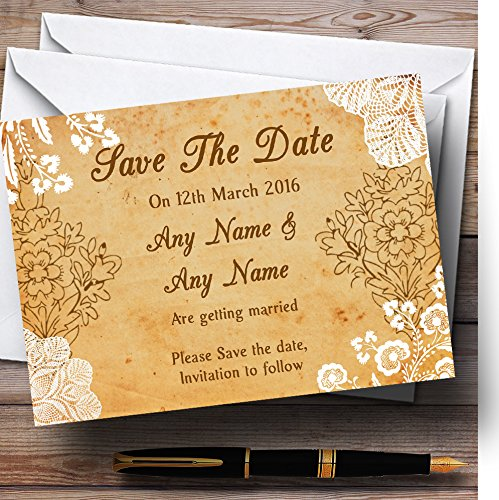 Shabby Chic Rustic Vintage Lace Personalized Wedding Save The Date Cards