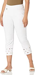 SLIM-SATION womens Tab Front Circle Embossed Hem Solid Crop Pant With Real Front Pocket Casual Pants (pack of 1)
