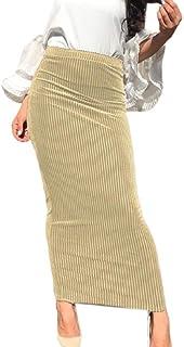 Fubotevic Las Mujeres con Estilo de Rayas de lápiz Bodycon musulmán de Cintura Alta Falda Larga