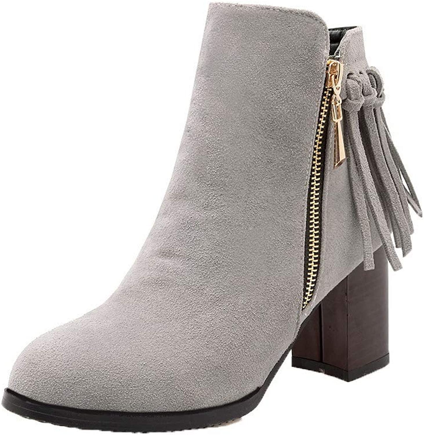 WeenFashion Women's Frosted Ankle-High Solid Zipper High-Heels Boots, AMGXX122708