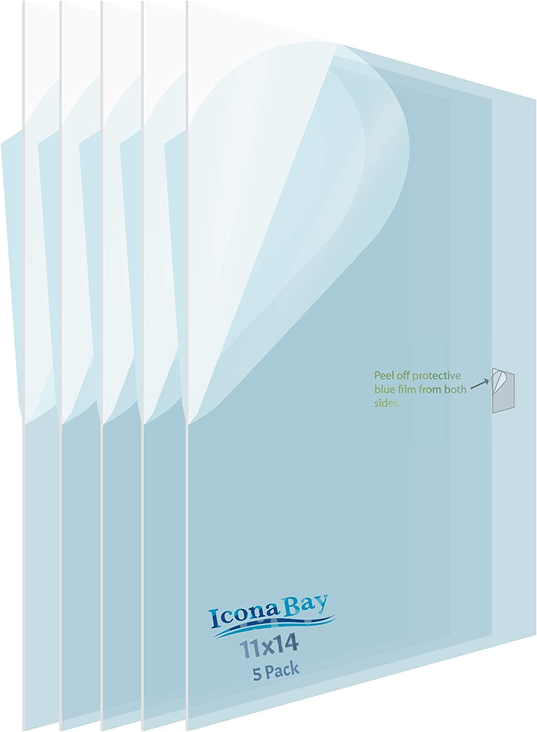 11x14 inch // 28x36 cm, 5 Pack Icona Bay PET Plastic Replacement for Picture Frame Glass PET is The Ideal Replacement Glass Material to Avoid Shattered Glass