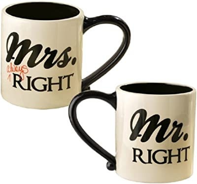Mr. and Mrs. Right Coffee Mugs by Grasslands Road by Grasslands Road