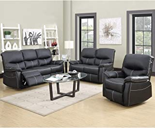3 piece black leather living room set