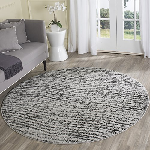 Safavieh Adirondack Collection ADR117A Black and Silver Contemporary Round Area Rug (4' Diameter)