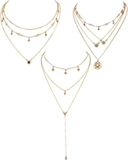 QIMOSHI Gold Layered Necklace Pendant Shell Moon Star Coin Round Simple Dangle Bar Necklace Chain for Women Girls Fashion Jewelry