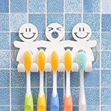 Coollooda with Suction Cup One Size Wall Cute Toothbrush Holder Mural for Smiley Emoji Bathroom Home Decor Smiley face