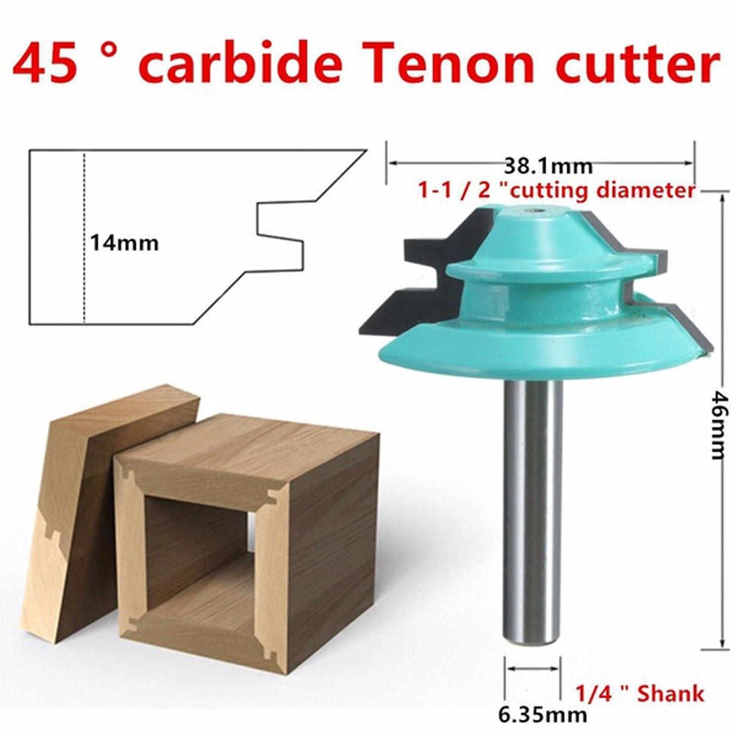 Wood Cutter Tools 45 Degree Lock Miter Router Bit 1/4