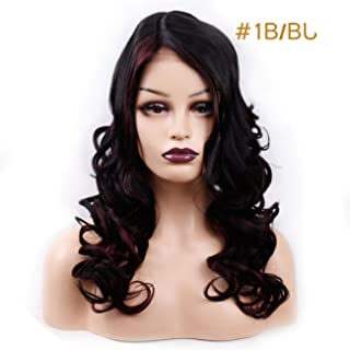 Amir 180% Density Synthetic wavy Hair Lace Front Wigs For Black Women Human Hand Made Hair Natural Black F1B/33 Brown red Color,T1B/Burgundy,22inches